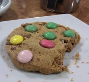 Choc chunk cookie with added Smarties