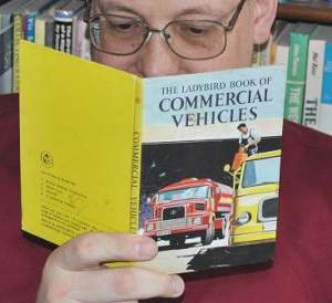Phil reading the LadyBird Book of Commercial Vehciles. A first edition too !